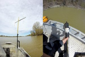 Figure 3 - Mobile radio receiver (left picture) and fixed acoustic receiver (right picture) used to locate Muskellunge. Credit : MFFP.