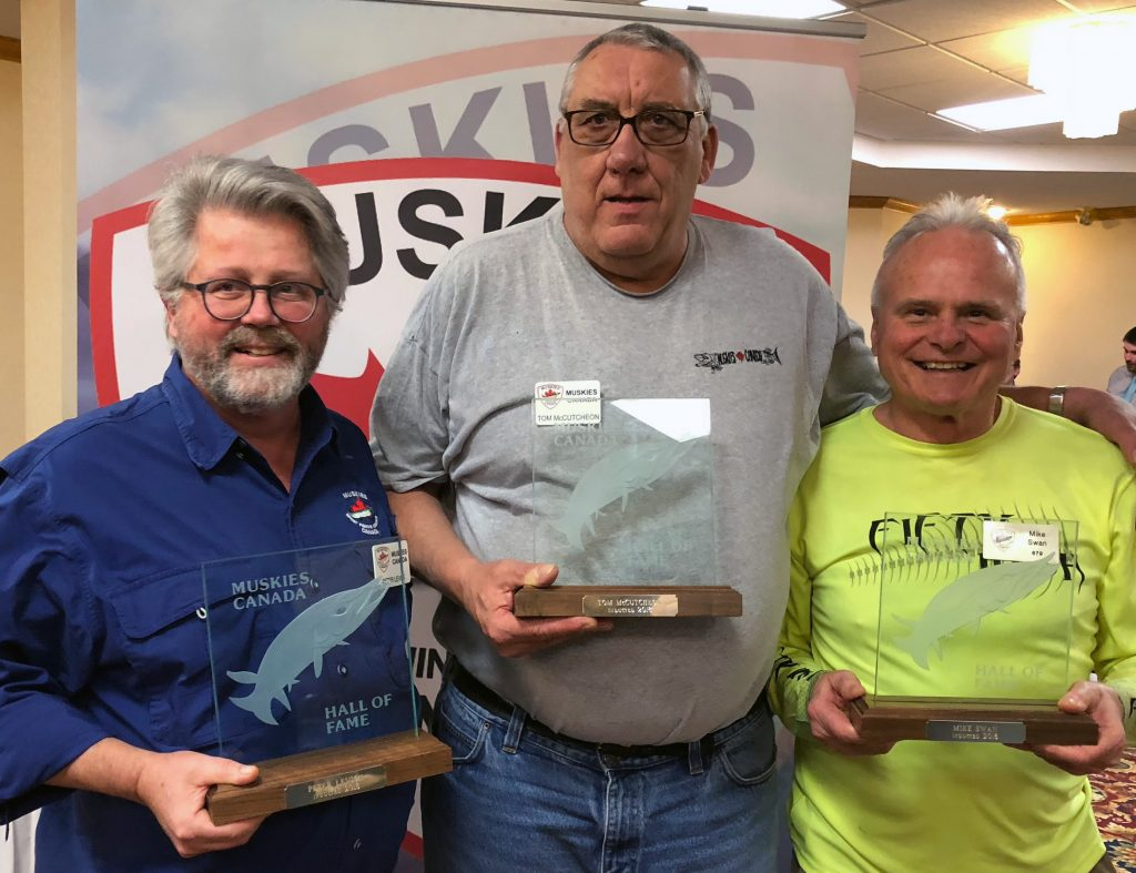 The 2018 Muskies Canada Hall of Fame Inductees: Peter Levick, Tom McCutcheon, Mike Swan, Absent on the photo: Arunas Liskauskas and Bill Hamblin.